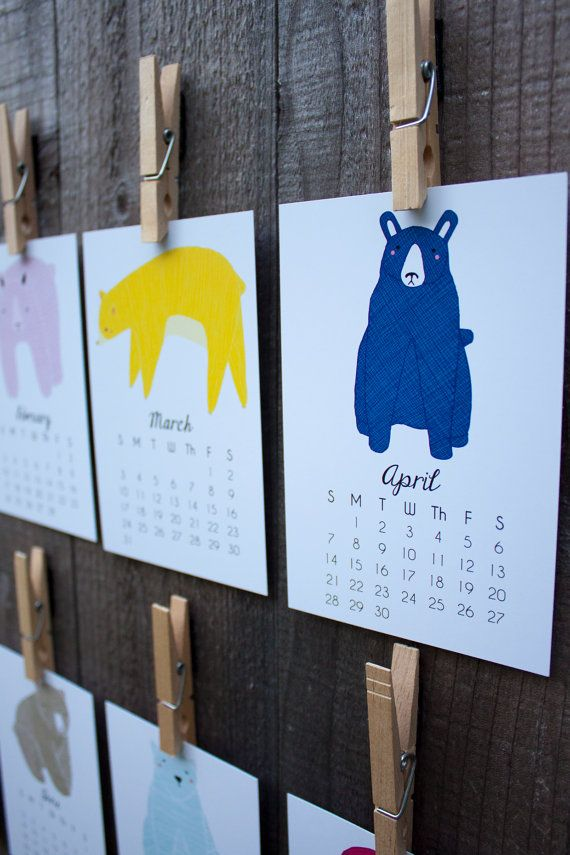 Little Bears 2014 Calendar, Desk Calendar, Wall Calendar Ready to Ship
