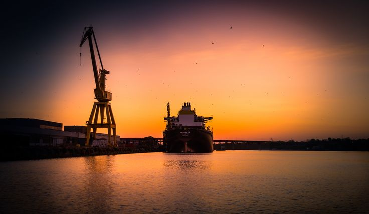 Large ship docked at the shipyard