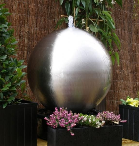 Brushed 50cm Stainless Steel Sphere Water Feature With LED light