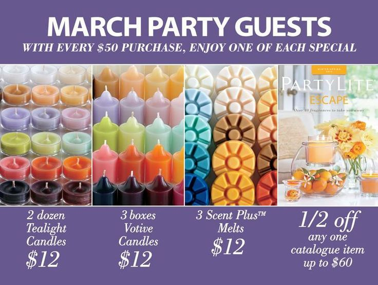 March Party Guests Specials. With a $50 purchase you recieve 2 dozen Tealight for $12. 3 half dozen Votives for $12. 3 Scent Plus Melts for $12 AND 1 item at 1/2 OFF up to $60!  http://www.partylite.biz/sites/vickyleclaire