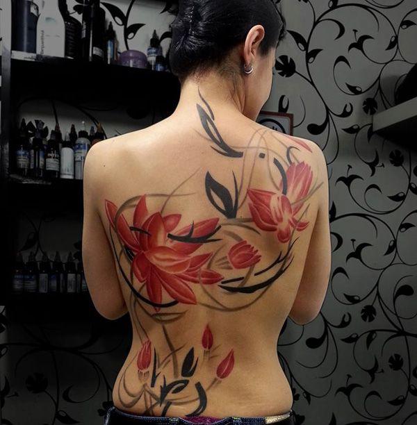 Barevné tetování na zádech - 50+ Příklady barevných tetování <3 <3