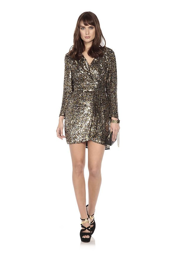 Work this seasons stylish sequin trend like Denise Van Outen in the Disco Diva dress by Parker. Hire it now for £55.