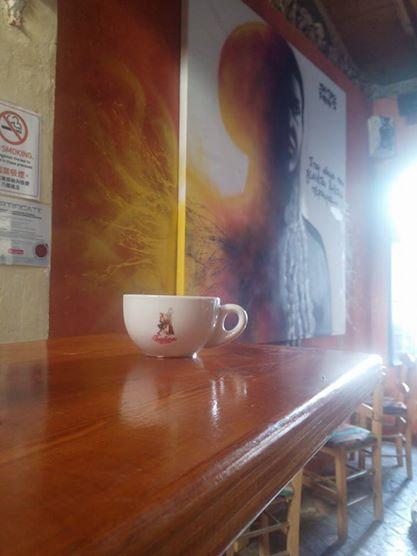 hot double cappuccino Barbera classica blend @ Paralello 33 Thuseio.still smoking..