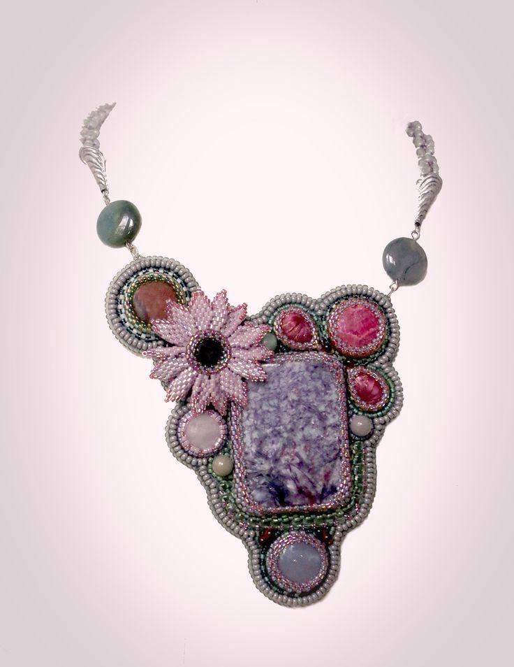 кулон с лeпидолитом и яшмой - украшения из бисера - beaded jewelry