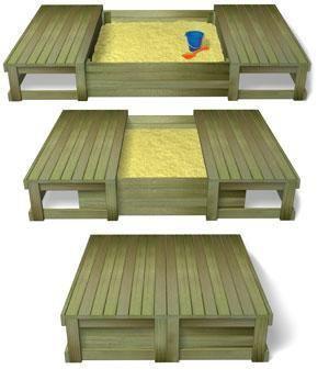 caixa de areia que vira deck para as crianças brincarem ao ar livre.