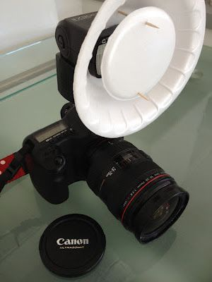 DIY Beauty Dish for $1.... Just pay me hundreds of dollars to take your portrait or thousands of dollars to put the memory of your wedding in my hands, and I will show up with this amazing piece of custom made equipment. Nothing inspires trust like styrofoam and toothpicks!