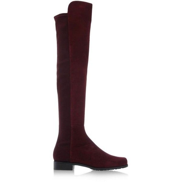 Stuart Weitzman Burgundy Suede 5050 Boot ($665) ❤ liked on Polyvore featuring shoes, boots, burgundy, rubber sole boots, suede knee high boots, stuart weitzman boots, round toe boots and elastic boots