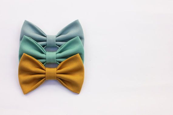 Men's Bow Tie - aquamarine, hemlock ,mustard yellow - hand sewn - vintage fabric on Etsy, $27.90