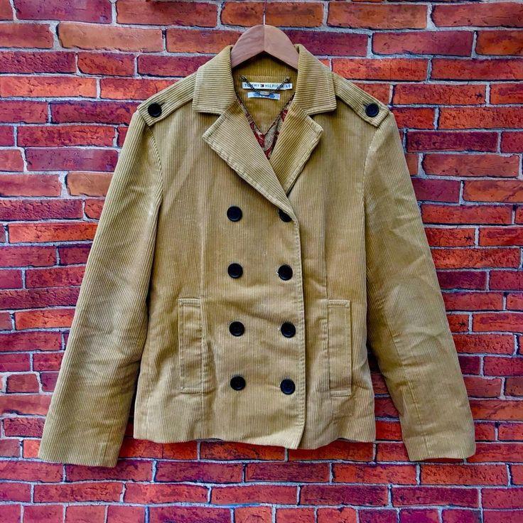 Tommy Hilfiger Vintage tan cord Jacket pea coat paisley design inside size L