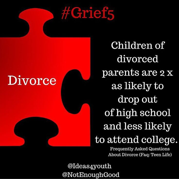 When a child or teen experiences the divorce of their parents, they are placed at a higher risk of academic failure.  #Grief5 #divorce #childrenofdivorce #loss #education #teens #kids #children