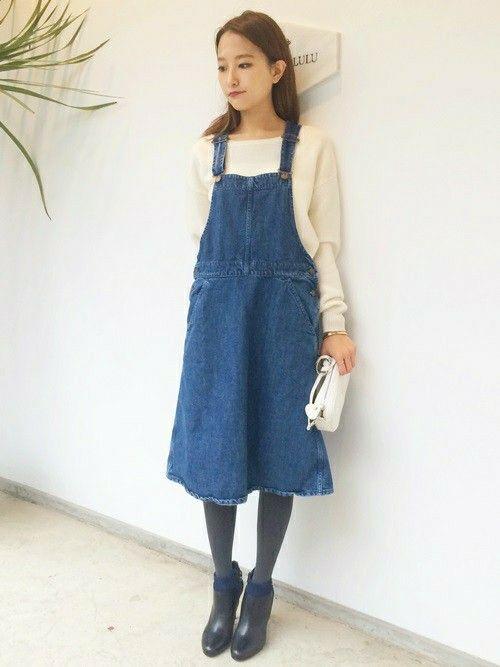 Yuriさんの「◆サロペットデニムセミフレアスカート(EDIT. FOR LULU)」を使ったコーディネート