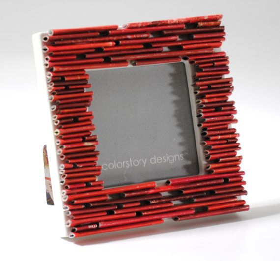 50% off sale - red picture frame- made from recycled magazines
