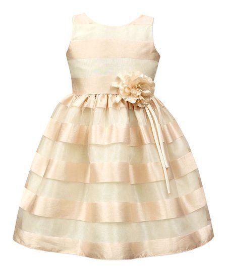 0e0b6886f11 Blush   Ivory Wide Stripe Organza A-Line Dress - Toddler   Girls ...