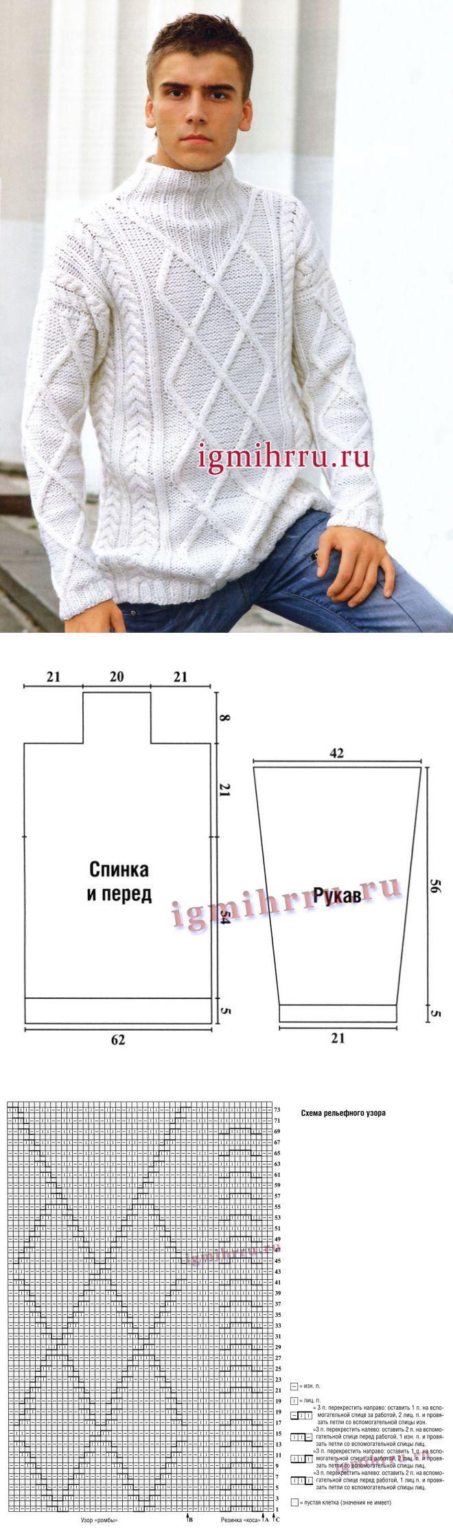 страна мам вяжем свитер мужской спицами схемы