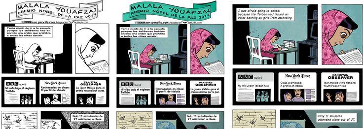 Cómic Malala en branco e negro