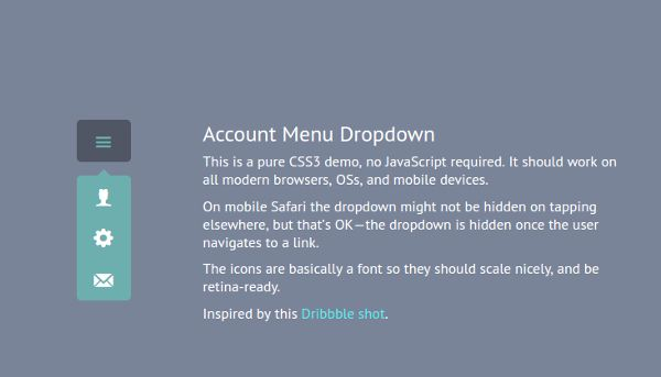 Account Menu Dropdown CSS3 & HTML5