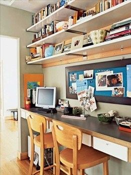 I like the high shelves and bulletin board. Also made me think about just putting up a floated shelf type thing for a desk. Might be cheaper and easier than trying to buy a desk.
