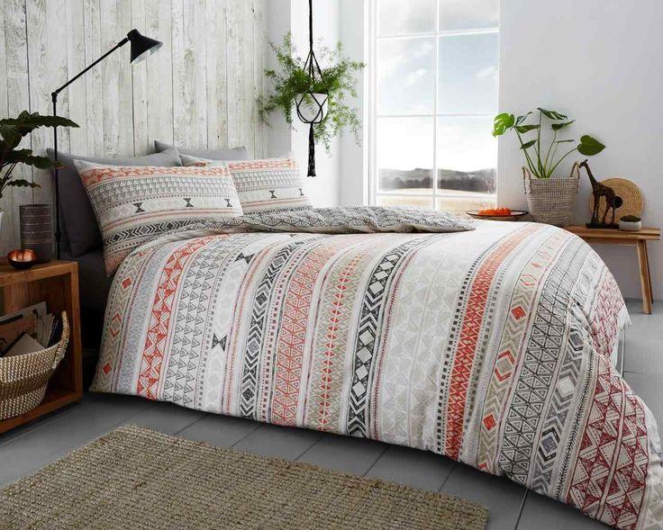 Tribal Stripes Natural Duvet Quilt Cover Bedding Set – Linen and Bedding