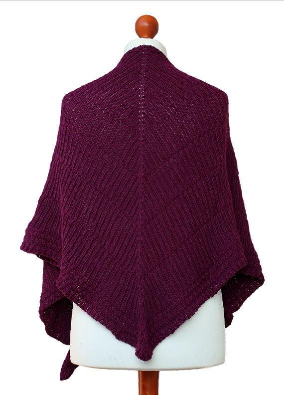 purple red wool shawl handknit wrap warm scarf by OlaKnits on Etsy