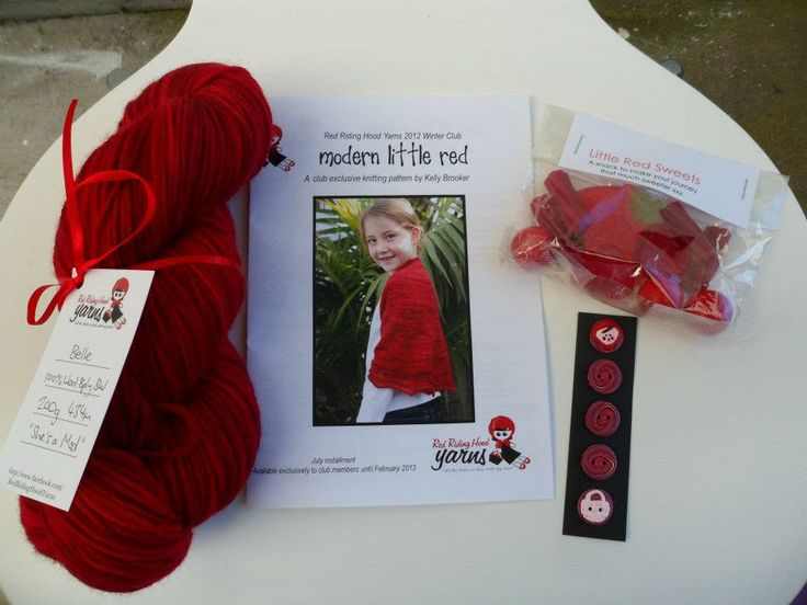 """Winter Yarn Club 2012 - July Girls Package includes: """"Shes a Mod"""" yarn, """"Modern Little Red"""" pattern by Kelly Brooker, Little Red Buttons by Benji, Little Red Sweet pack"""