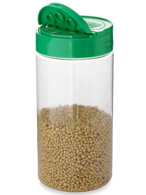 Parmesan Cheese Shaker:  Clean it out, then fill it up with your preferred granular plant fertilizer for an easy way to feed your garden.  Great idea!