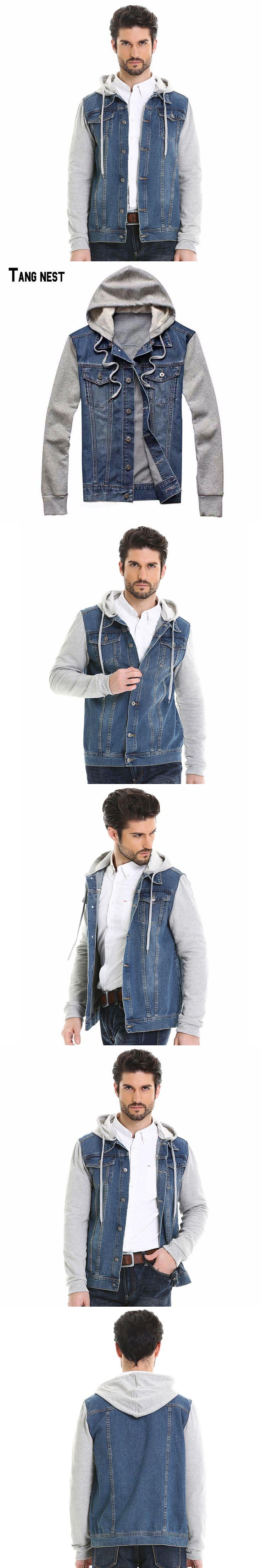 TANGNEST 2017 New Fashion Men's Hoodie Cowboy Jeans Jackets Male Denim Plus Size Jeans Jacket Hoodie Detachable MWJ1291