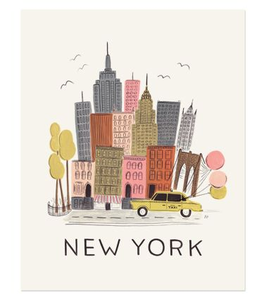 """New York City Print $40.00 11""""x14"""" illustrated New York City art print created from an original gouache painting by Anna Bond. Printed on natural white cover paper."""