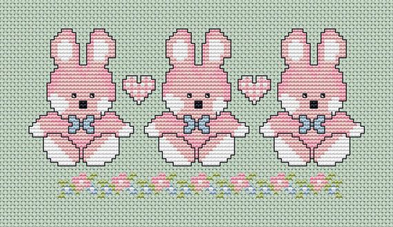Baby Girl Bunnies or Easter Bunnies  Cross stitch chart ( full colour and black and white ) with instructions and full colour picture  This delightfully easy cross stitch design would make a great card or framed picture for a little girl, it would also make a great Easter card.  All of my cross stitch designs are based on my original art work. Ive photographed the cross stitch on white aida as well as green and pale blue the choice is yours.The fourth picture is your free gift chart :) I…