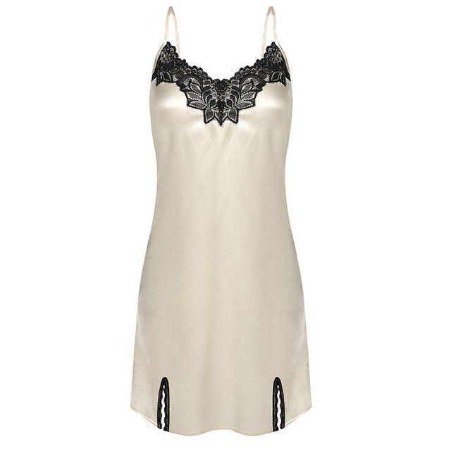 Women Nightgown Spaghetti strap Sexy Satin Lace Splicing Nightwear V-Neck Summer Sleepwear Ladies Night Dress