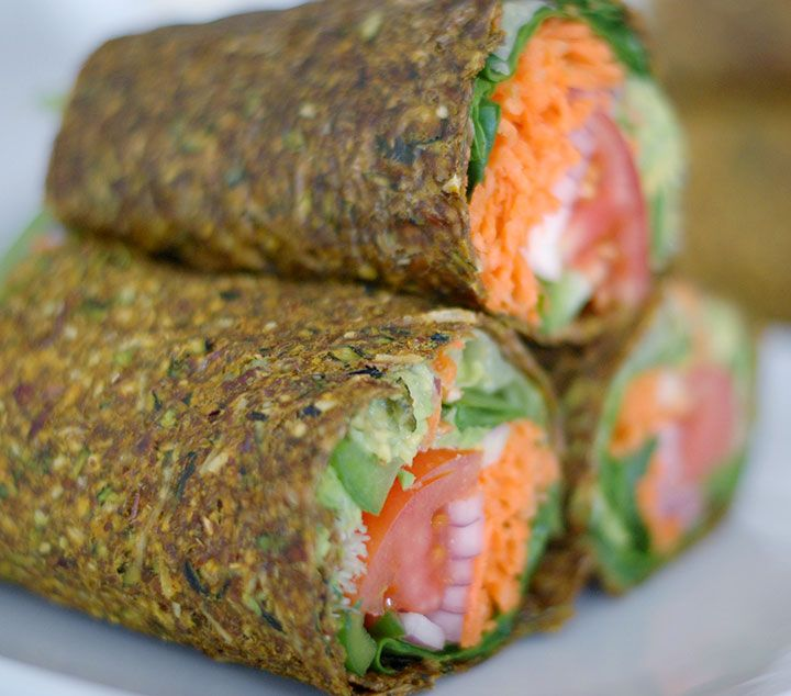 The Global Girl Raw Mexican Recipes: This epic raw guacamole Burrito is vegan & gluten-free. The ultimate healthy wrap in a zucchini, apple and flax seed crust.