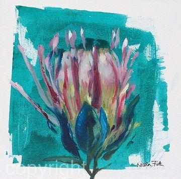 Turquoise Protea 2 by Nicola Firth Oil ~ 40cm x 40cm