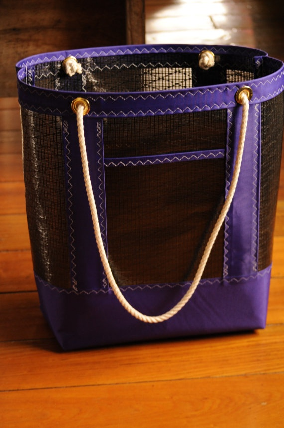 Nautical+Technora+Sailcloth+Tote+Bag++Purple/Black+Sail+by+OYKNOT,+$65.00