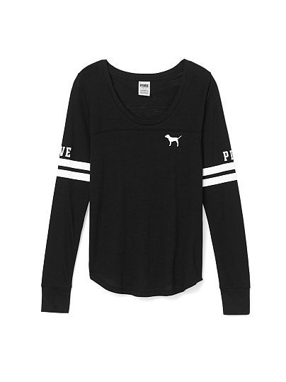 Long Sleeve Football Tee PINK  JE-327-893 (093) This cute long sleeve has bold graphics and sporty stripes on the sleeve. Must-have tees by Victoria's Secret PINK. Relaxed, easy fit Yoke detailing Curved hem Print graphics Classic cotton jersey blend Imported cotton/polyester