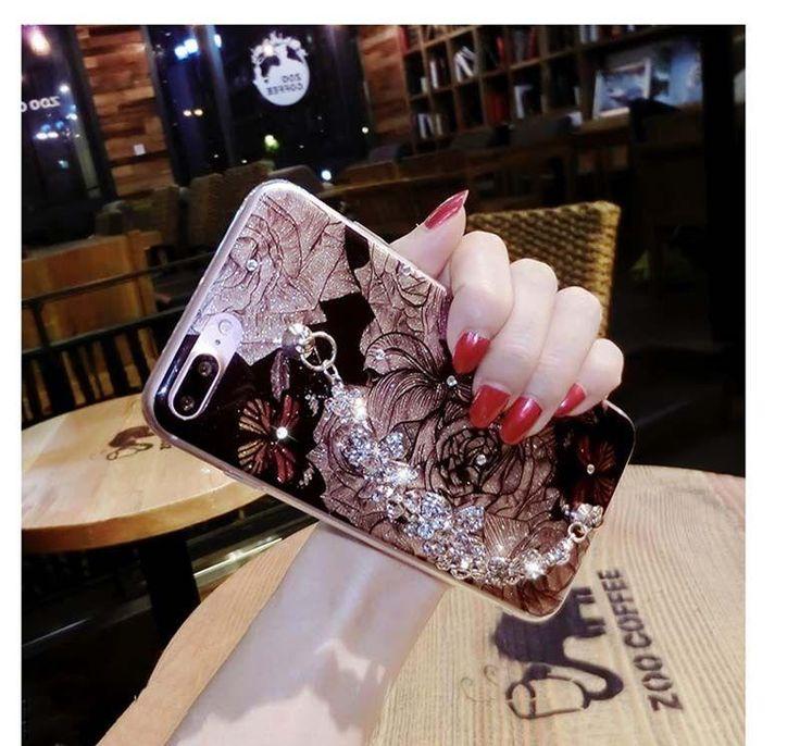 iPhone X, 8 Plus/8, 7 Plus/7, 6S Plus/6S - Evening Glitter Jeweled Wrist Strap Case