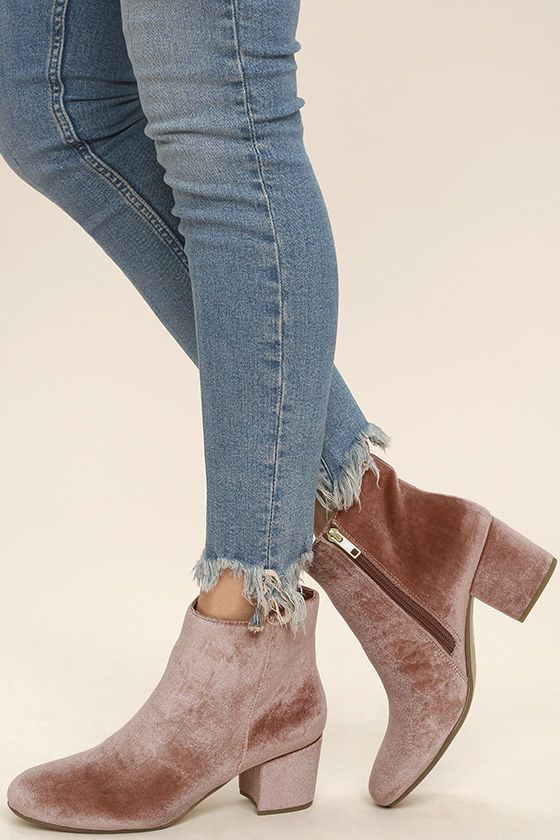 """We can't help but brag about the Steve Madden Holster Blush Velvet Ankle Booties! These mod booties are a staple in every it girl's wardrobe, with their rounded toe upper formed from soft velvet. 5"""" zipper at instep."""