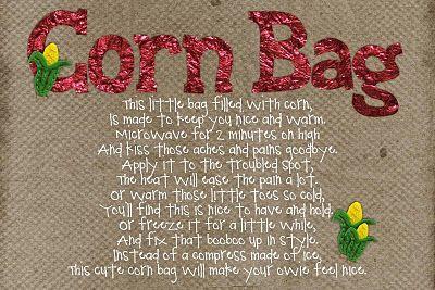 Hot/cold CORN compress - tutorial and great printable to use when giving as a gift.
