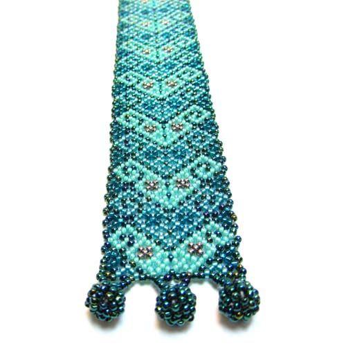 Huichol Bracelet with Turquoise Micro Beads