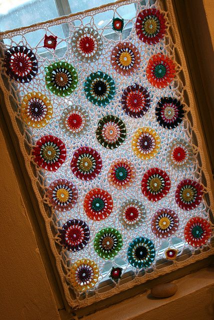 crochet curtain -- This is what I can do with that tiny bathroom window that nothing fits!  YES!