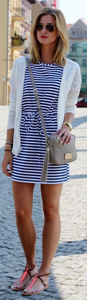 Lulu.li Black And White Nautical Relaxed Mini Dress by Beauty - Fashion - Shopping