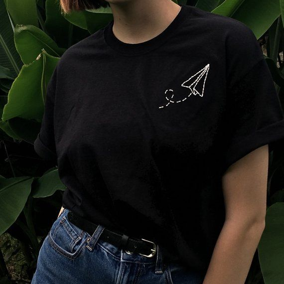 hand embroidered paper plane 100% cotton t-shirt please message me with any requ…