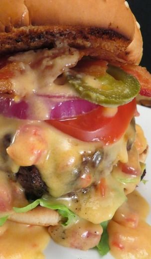 Tex-Mex Bacon Cheeseburger ~ The burger was nothing special and the cheese sauce was way too much for the amount of burgers.  I would cut the cheese sauce in half.