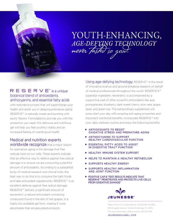 Jeunesse - RESERVE. Enough antioxidants in one pouch as in 168 bottles of wine combined. Amazing Health benefits!try now