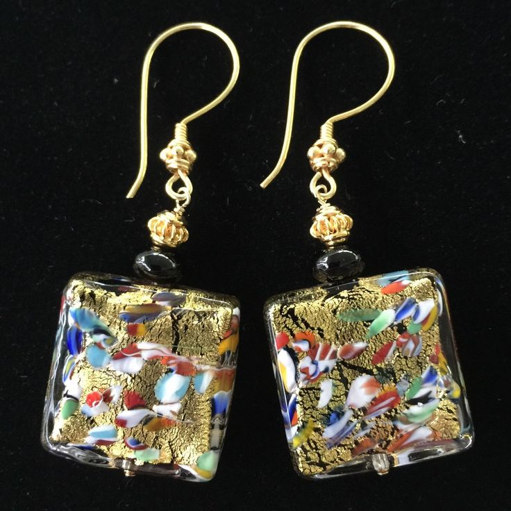 New Gold Klimt Murano dangle ear wires