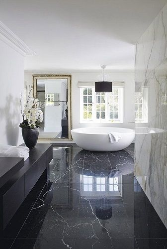 Modern black and white luxury bathroom design. See more inspirations at  homedecorideas.eu/