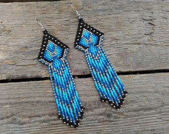 Native American Bead earrings,blue and gold beaded earrings,seed bead earrings, Mexican earrings, boho earrings, fringe earrings, Aztec