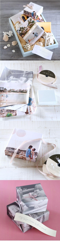 [DIY]お気に入りの写真を印刷して、プチギフトや引出物のラッピングペーパーにするのはいかが? ふたりの思い出写真や前撮りphotoを活用しない手はありません。それ以外にも、思い出の風景やふたりの子ども時代の写真もストーリー性があって楽しそう♪ 写真によってカラー印刷orモノクロ印刷を選んで、紙は普通のコピー用紙で十分。包みを開けながら、ゲストもきっとわくわくしてくれることでしょう!