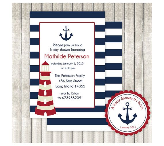 Nautical Baby Shower Invites   Printable   Invites  by ByYolanda, €10.00