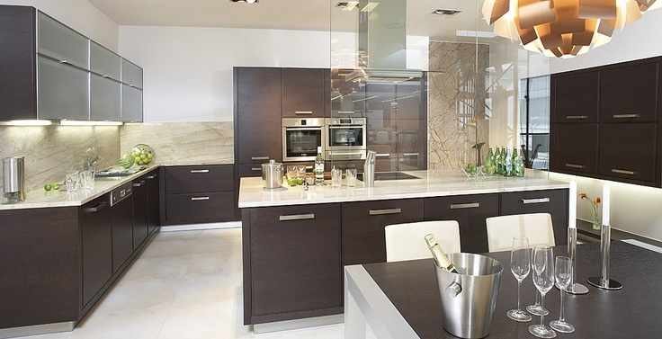 Wenge kitchen with polished wooden furniture