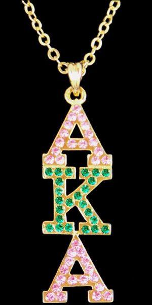 Alpha Kappa Alpha - crystal pendant - gold