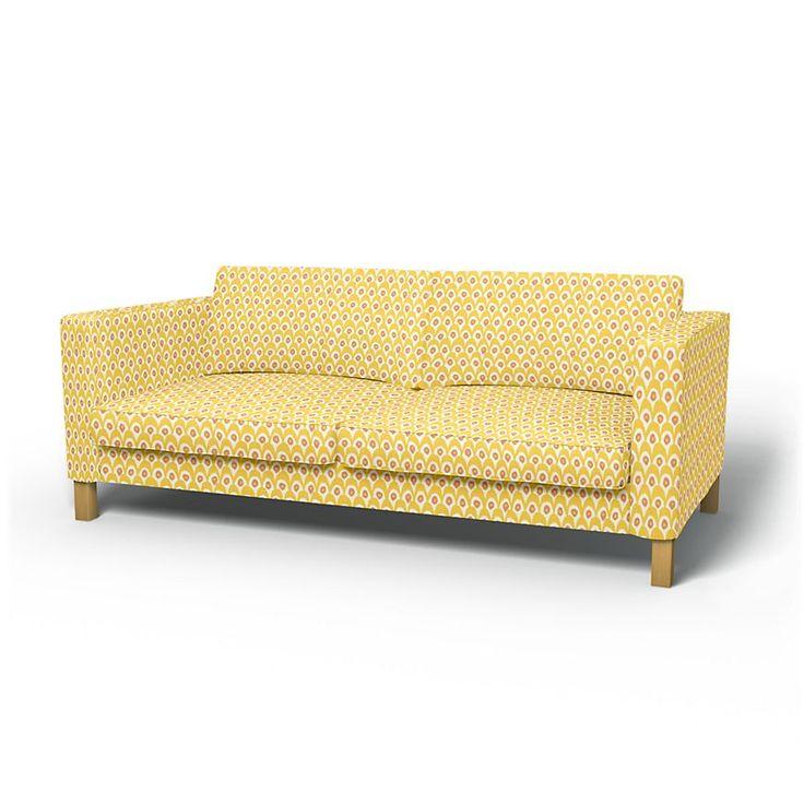 Karlstad, Housses de canapé, 3 places, Regular Fit utiliser le tissu Circus  White/Yellow